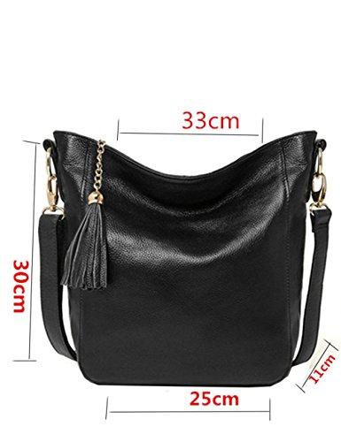 Menschwear Borse a tracolla di borse della borsa della borsa di cuoio delle donne Marrone Nero