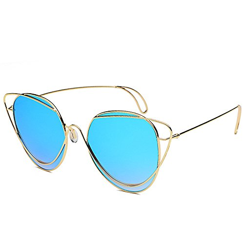 DESESHENME Sonnenbrille Metall Spiegel Fashion Design Aviator Sonnenbrille Frauen hohe Qualität, Gold Frame blauen Linsen
