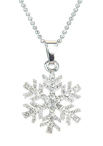 Ella Jonte Kurze Halskette Silber mit Strass Schneeflocke Anhänger Winter Weihnachten