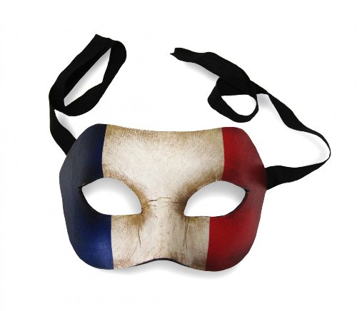 Unbespielt Original Venezianische Maske Colombina Frankreich Flagge Fahne Vintage Look