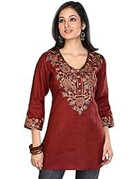 1545 Designs Mujer Más el tamaño del algodón de seda granate Top