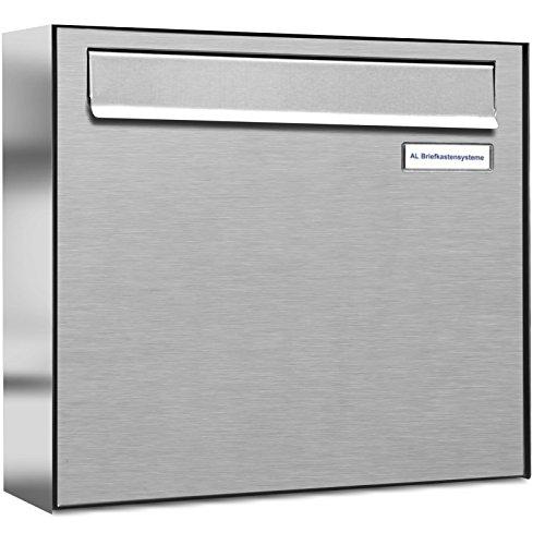 AL Briefkastensysteme 1er Briefkasten für Tür/Zaundurchwurf, 1 Fach DIN A4, wetterfeste Premium Briefkastenanlage aus V2A Edelstahl