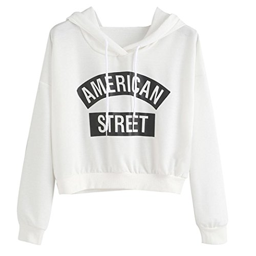 MERICAL Women Long Sleeve White Letter Print Hooded Sweatshirt Pullovers