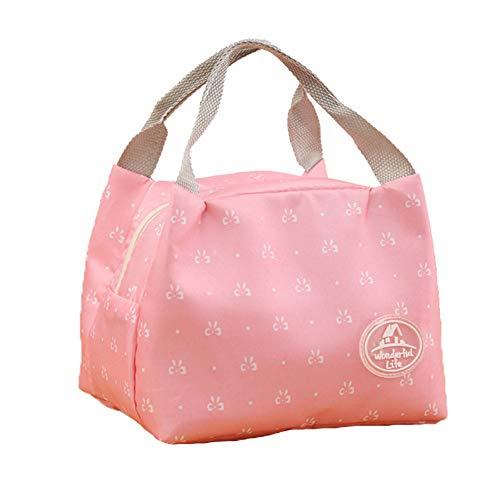Cdet 1X Lunch Tasche Klein Leicht Kühltasche Isoliertasche zur Arbeit Schule Faltbar Wasserdicht Reissverschluss für Damen (Rosa Schleife)