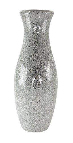 Antike Glas-postfach (Glas-Vase Mosaik silber/hellgrau 21 x 58cm)