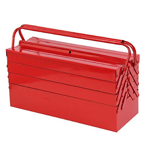 MultiWare Boîte À Outils Caisse Metallique 7 Compartiment 4 Niveaux Rouge