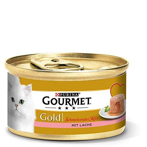 Purina GOURMET Gold Schmelzender Kern: Katzenfutter, Nassfutter für ausgewachsene Katzen, Pastete mit Saucenkern, Menge: 12er Pack (12 x 85 g)