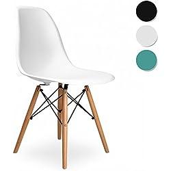 Due-home (Nordik) - Silla tower wood , Color blanco y madera de haya ,dimensiones 47 cm ancho x 56 cm fondo x 81 cm altura