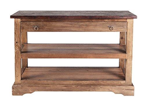 Drucker-Regal aus recyceltem Teak-Holz mit 1 Schublade und 1 Boden 120x40 cm | Oceandrift | Massiv-Holz Beistell-Tisch natur mit kolonialfarbener Platte 120cm x 40cm