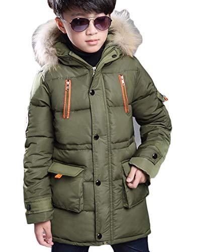 Jungen Jacke Mantel Warm Lang Parka Winterjacke Kunstfell Kapuzen Outwear Wintermantel Oberbekleidung Armee-Grün 160CM