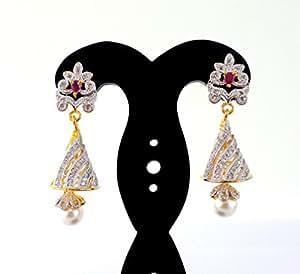 Indian Attire Women's Beautiful New Style American Diamond Fancy Earring - Indian Diamond Jhumka Earring