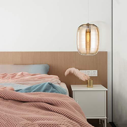 Nordic Moderne einfache Glas Pendelleuchte, E27 Schraube Lampenfassung/Wasser Ripple Lampenschirm, einstellbare Hängedraht, ideal für Schlafzimmer Studie Esszimmer,Amber -