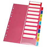 Herlitz 10913929 Register 1-10, 22,3 x 29,7 cm, PP, farbig mit IndexBlatt und Eurolochung