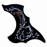 lotmusic-black–Golpeador para guitarra acústica arañazos Placa Sunbird