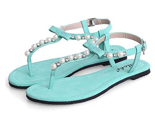 Damen Strand Flach Sandalen Zehentrenner Sommerschuhe T-Strap Thong Sandalen Mit Strasssteine Blau