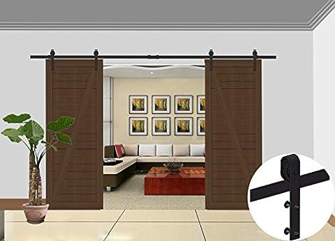 ccjh 8ft Country Style Grange coulissantes en acier Placard Hardware de porte pour portes en bois double