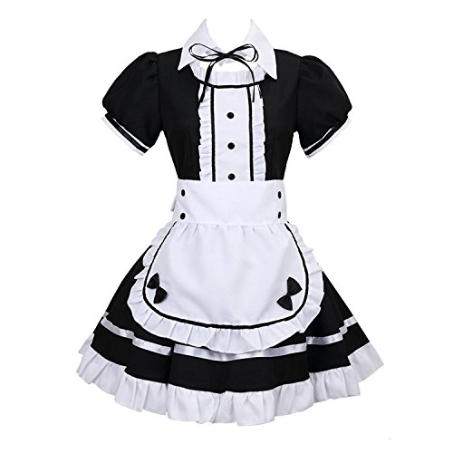 tzm2016 Anime Cosplay Kostüm French Maid Outfit Halloween, 4 PCS als Set inkl. Kleid; mit Kopfbedeckungen; Schürze; Fake Halsband, schwarz, XXL (Kostüm Halloween Schuluniform)