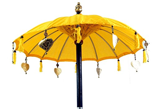 Guru-Shop Zeremonienschirm, Asiatischer Dekoschirm - Gelb, Sonnen- & Regenschirme