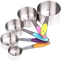 YIAN 5er Messlöffel Edelstahl Measuring Cups Messbecher mit rutschfester Silikon Griff 250ML/125ML/80ML/60ml/30ml Best für Küche Kochen Backen