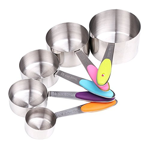 YIAN 5er Messlöffel Edelstahl Measuring Cups Messbecher mit rutschfester Silikon Griff 250ML/125ML/80ML/60ml/30ml Best für Küche Kochen Backen (Mess-löffel-set Ganz)