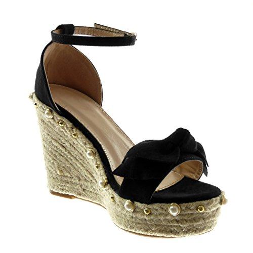 Angkorly Scarpe Moda Sandali Mules Zeppe con Cinturino Alla Caviglia Donna Nodo Perla Corda Tacco Zeppa Piattaforma 11 cm Nero