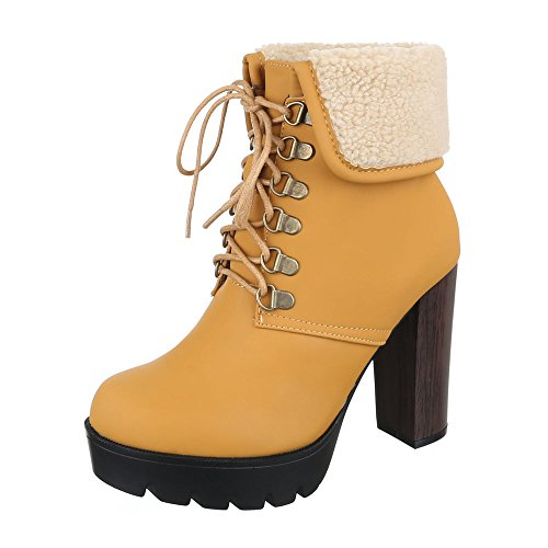 (Ital-Design Schnürboots Damen-Schuhe Combat Boots Pump Schnürer Schnürsenkel Stiefeletten Camel, Gr 39, Cl117-)