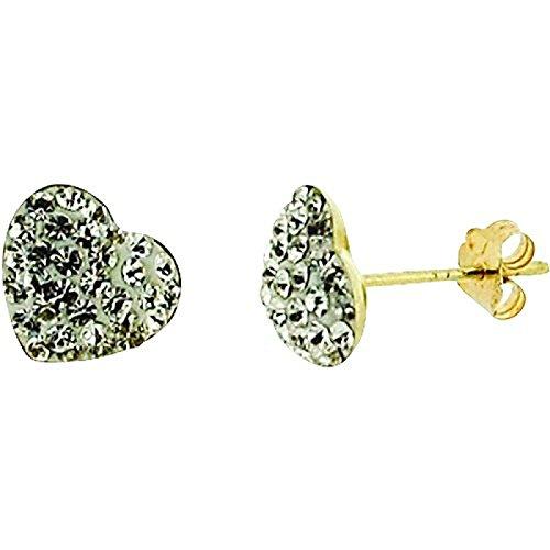 The Olivia Collection ladies-girls 9ct oro di cristallo Stud orecchini a forma di cuore
