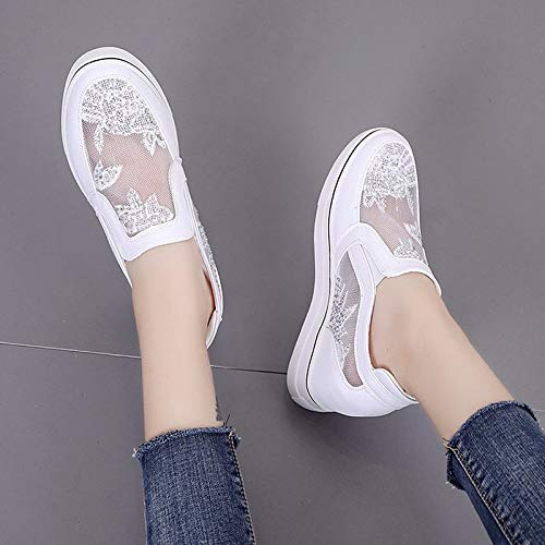 41GcMsKwu0L. SS500  - ZHZNVX Women's Shoes PU(Polyurethane) Summer Comfort Sneakers Wedge Heel Round Toe White/Silver