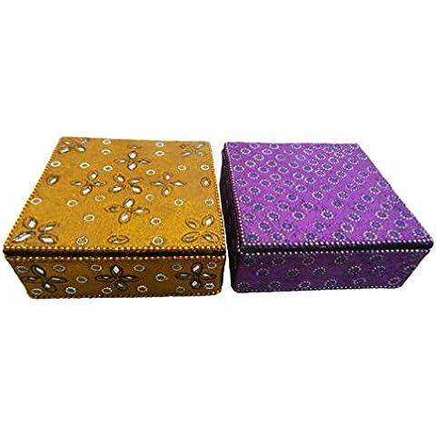 antigua caja de joyas de mesa de regalos indio superior accesorios de época de estilo caja de almacenamiento moldeada hecha a mano caja de la píldora material decorativo 2 PC