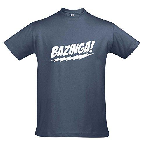 T-Shirt - BAZINGA, The Big Bang Theory - KULT-Shirt S-XXL , Denim - weiß , S (T-shirt Bazinga)