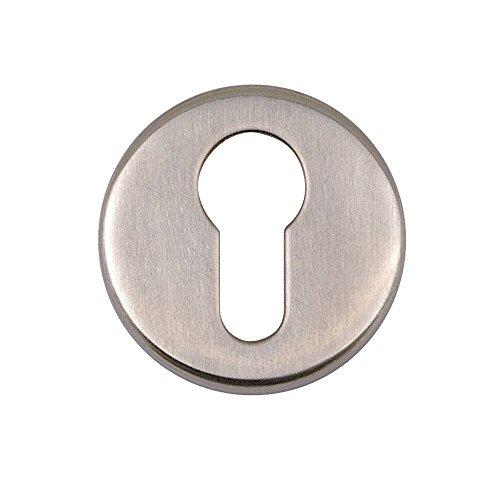 Bulk Hardware - Rossetta per serratura con cilindro europeo, in acciaio INOX satinato, confezione da 1