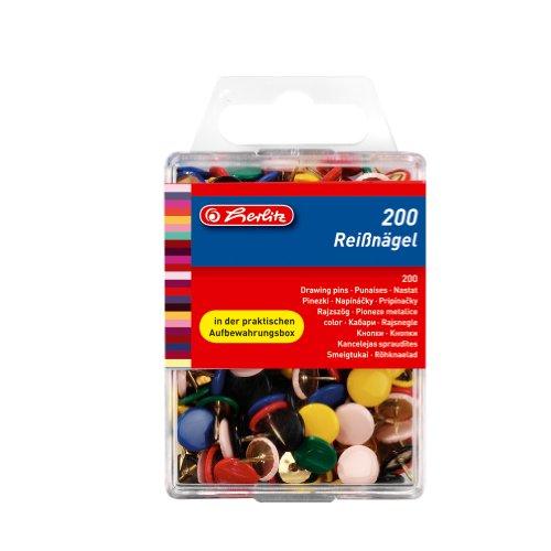 Herlitz y chinchetas, kunststoffummanteltes metal redonda, 200unidades en caja colgante, varios colores, color coloreado
