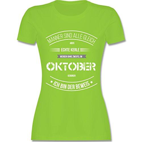 Shirtracer Geburtstag - Echte Kerle Werden IM Oktober Geboren - Damen T-Shirt Rundhals Hellgrün