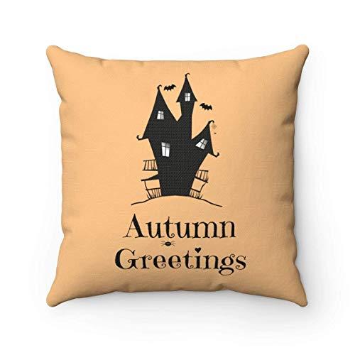 Odin sky Spukhaus dekorative Kissen Spaß Halloween Dekor Herbst Grüße Herbst Dekoration Witchy Quadrat Kissen 18 x 18 Zoll
