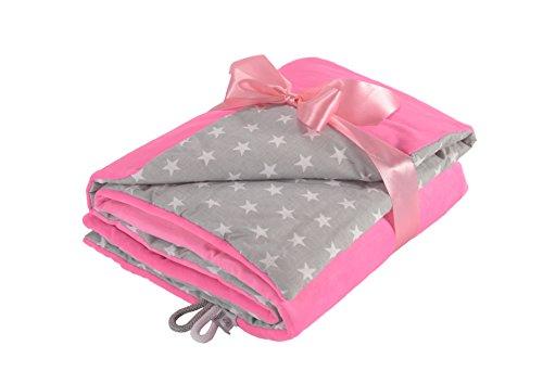 scheldecke Krabbeldecke 75x100 super weichem Minky Polar Fleece | 100% Baumwolle | Füllung | hoch Qualität | Plüschdecke perfekt für Babys (Pink - White Stars) ()