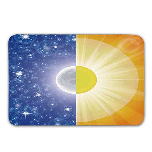 or rutschfeste Türmatte, Split-Design mit Sternen im Himmel und Sonnenstrahlen Licht Solar Balance Bild Fußmatte für die Haustür Indoor ()