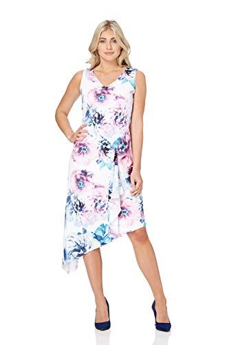 b1371f4a99a Roman Originals Femme Robe sans Manches Col V Floral - Pastel Fleurie  Asymétrique Midi Robes Mi