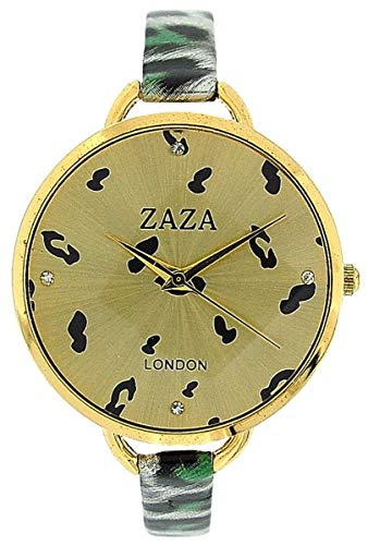 ZAZA LONDON Modische Damenarmbanduhr in grünem Leopard-Design und goldenem Ziffernblatt (London Leopard)