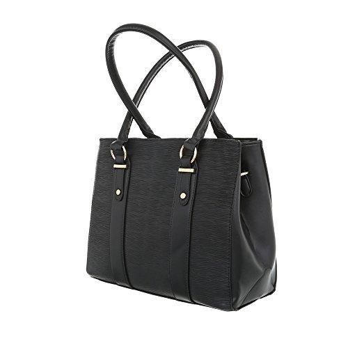 iTal-dEsiGn Damentasche Mittelgroße Schultertasche Handtasche Kunstleder TA-K678 Schwarz