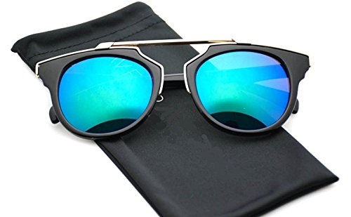 U.S. CROWN Cat eye HD Mirror Blue - Green Lens Creative Alloy Frame Street Fashion Designer Pantos Sunglasses UV400 with Case