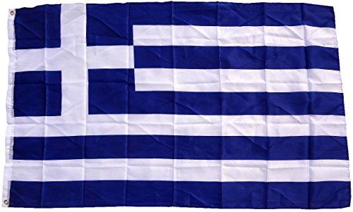 Flagge Griechenland 90 x 150 cm Fahne mit 2 Ösen 100g/m² Stoffgewicht Hissflagge Hiss EXTREM REIßFEST,sehr robust, extra starke Messing-Ösen - mehrfach umlaufend genäht, ideal als Hissflagge Hissfahne für Innen/Außen, für Haus, Garten zur Deko, verstärkte Stoffqualität, hohe Farbbrillanz, Lichtecht , sauber vernäht