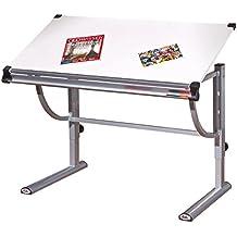Links 50900450 Speedy - Escritorio inclinable (melamina y metal, 110 x 60 x 63/93 cm), color blanco y plateado