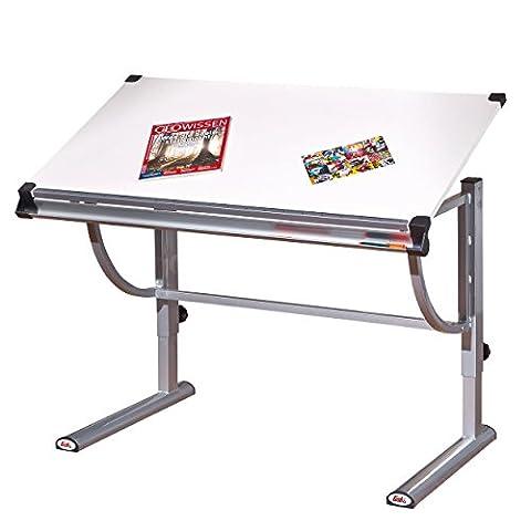 Links 50900450 Schülerschreibtisch Speedy Melamin Platte Neigbare, 110 x 60 x 63-93 cm, weiß / metall / silber