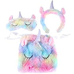 Lurrose 3pcs Licorne Bandeau et Sleeping Eye Mask Set Accessoires Mignons Cheveux colorés en Peluche avec Sac de Rangement