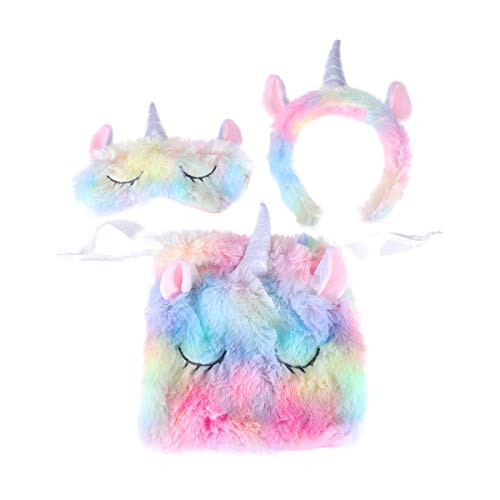 Lurrose 3Pcs entzückende bunte Einhorn-gesetzte Plüsch-Horn-Einhorn-Stirnband- u. Einhorn-Augen-Maske u. Einhorn-Speicher-Beutel-Einhorn-Geschenke für Mädchen