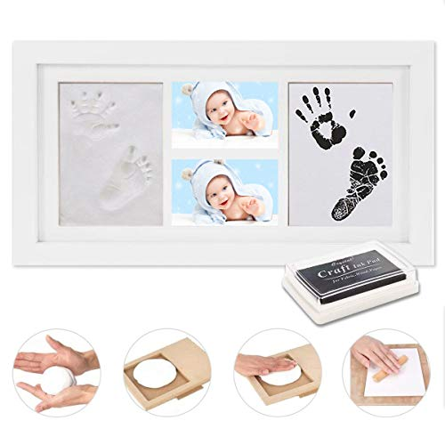 WesKimed Set de Marco de Fotos y Huellas de Bebé en Tinta - Recuerdo memorable - No tóxico - Ideal regalos para bebes - Marco de madera y cristal acrílico - Ideal decoración o regalo de baby shower