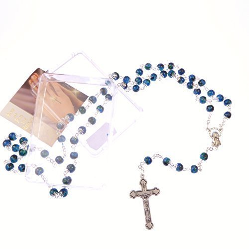 Blue-glass-marble-effect-capped-rosary-beads-in-box-Catholic-INRI-crucifix