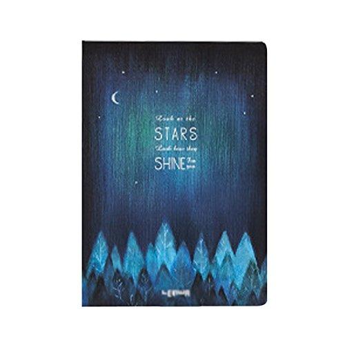 Jeune Lueur Starry Night Moon Night Hardcover Notizbuch A5 liniert Schreibtagebuch Notizblock mit Band Lesezeichen Woodland Woodland Band
