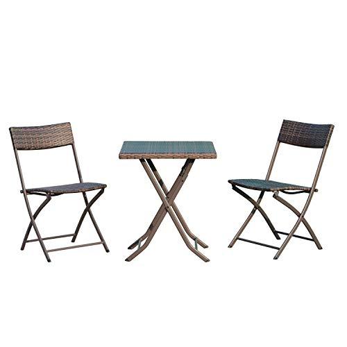 miozzi Set Tavolino e 2 Sedie Pieghevoli da Giardino in Rattan Sintetico Marrone