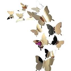 Pegatina de pared Switchali 12 piezas moda nuevo Desmontable Mariposas 3D Espejo Pegatinas para pared Creativo Vinilo Decorativo del Cristal Decoración del hogar Pegatina para Puerta Habitación barato gran venta